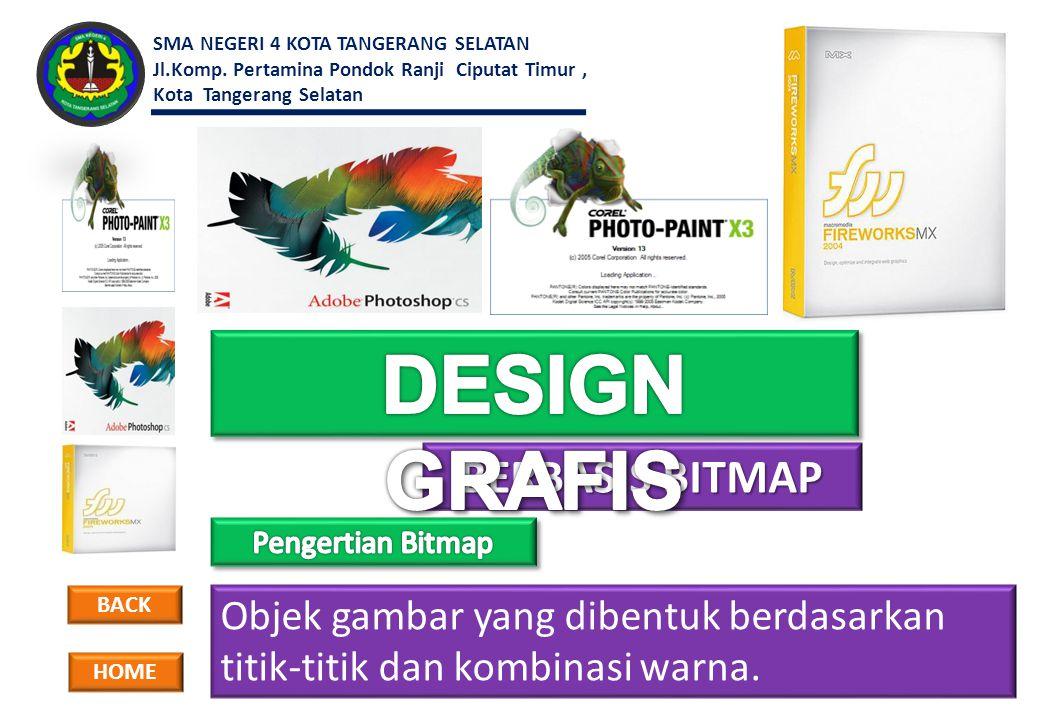 Objek gambar yang dibentuk berdasarkan titik-titik dan kombinasi warna. BERBASIS BITMAP BERBASIS BITMAP BACK HOME SMA NEGERI 4 KOTA TANGERANG SELATAN