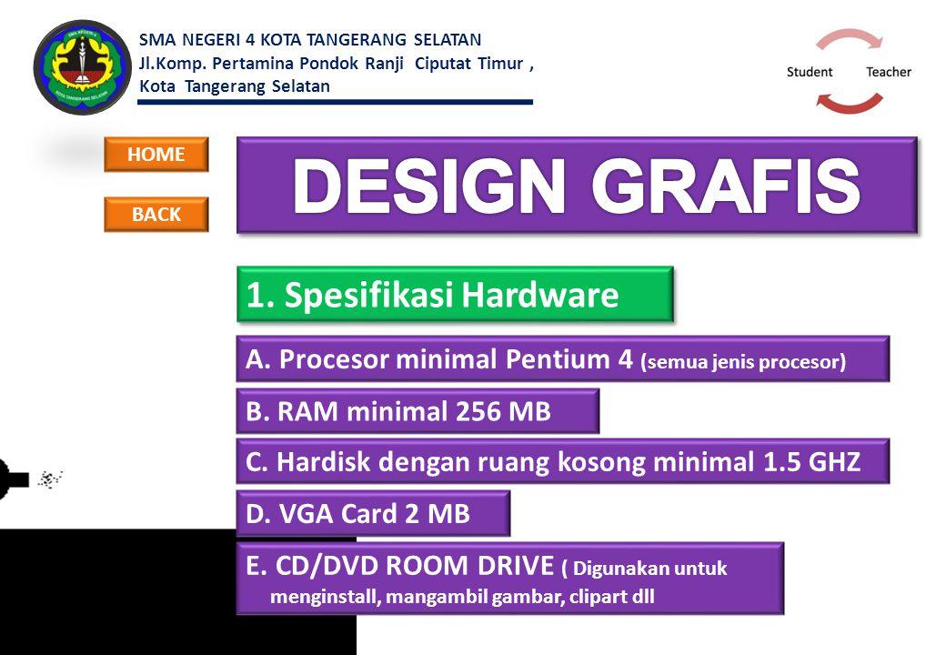 1. Spesifikasi Hardware A. Procesor minimal Pentium 4 (semua jenis procesor) HOME B. RAM minimal 256 MB C. Hardisk dengan ruang kosong minimal 1.5 GHZ