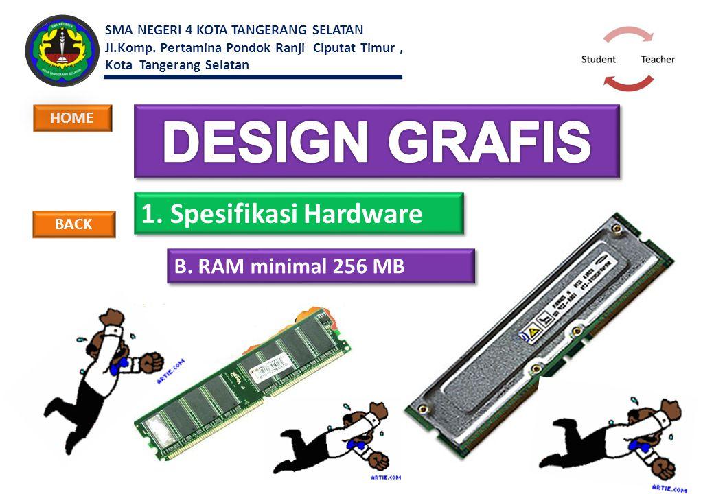 1. Spesifikasi Hardware B. RAM minimal 256 MB BACK HOME SMA NEGERI 4 KOTA TANGERANG SELATAN Jl.Komp. Pertamina Pondok Ranji Ciputat Timur, Kota Tanger