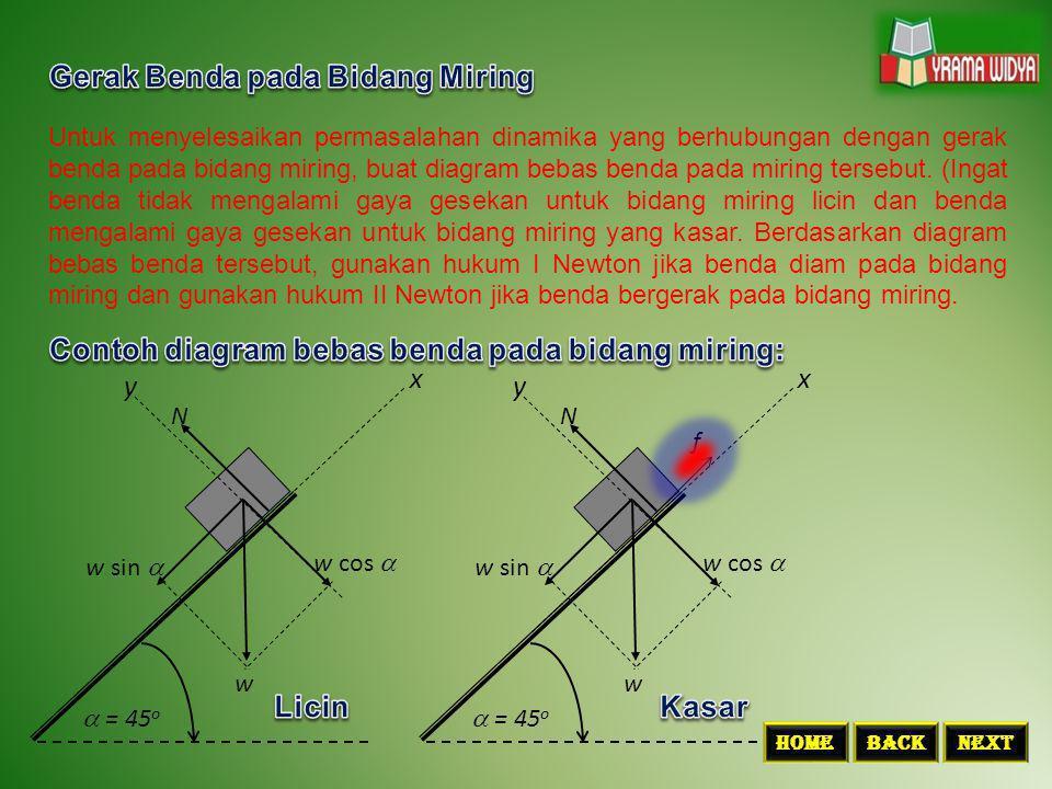 m1m1 m2m2 w1w1 w2w2 T T Masalah dinamika yang berhubungan dengan gerak benda pada katrol licin dapat diselesaikan dengan hukum II Newton.