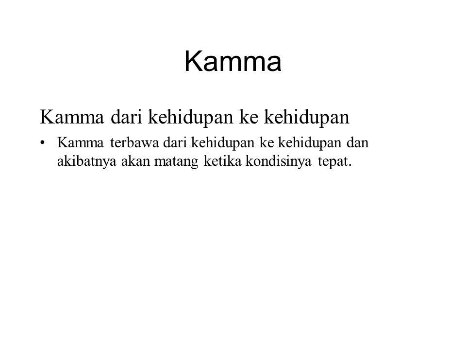 Kamma Kamma dari kehidupan ke kehidupan •Kamma terbawa dari kehidupan ke kehidupan dan akibatnya akan matang ketika kondisinya tepat. •Therefore the w