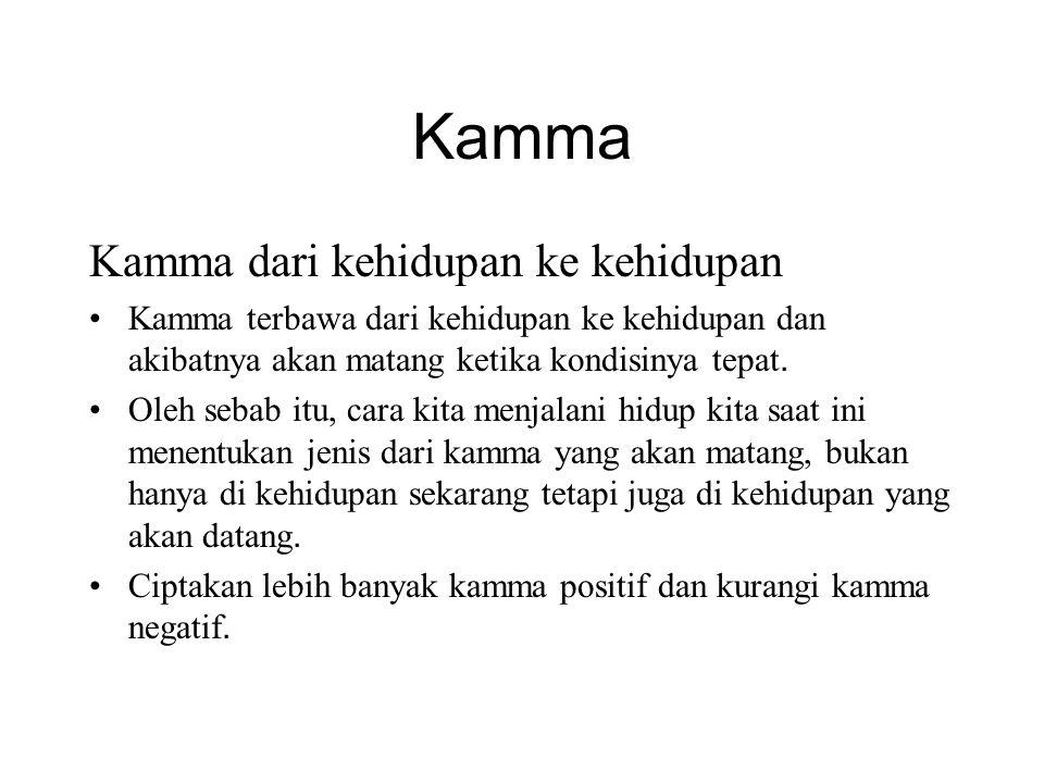 Kamma Kamma dari kehidupan ke kehidupan •Kamma terbawa dari kehidupan ke kehidupan dan akibatnya akan matang ketika kondisinya tepat. •Oleh sebab itu,