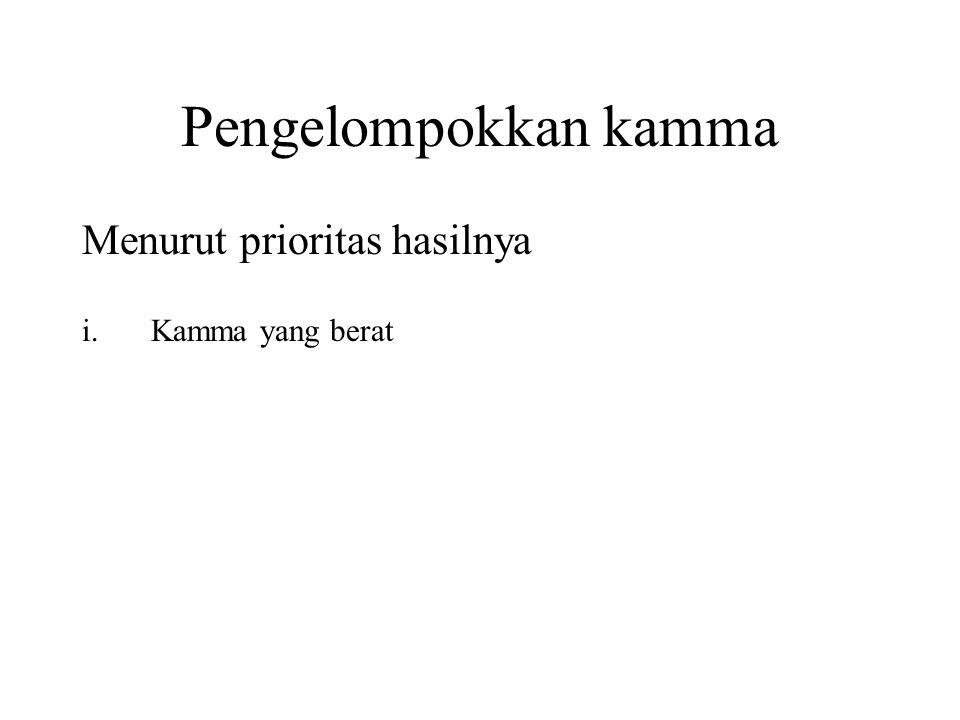 Pengelompokkan kamma Menurut prioritas hasilnya i.Kamma yang berat Proximate Kamma ii.Habitual Kamma iii.Reserve Kamma