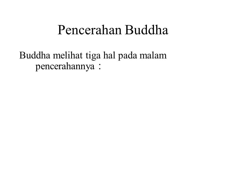 Pencerahan Buddha Buddha melihat tiga hal pada malam pencerahannya : 1.He saw all his countless past lives.