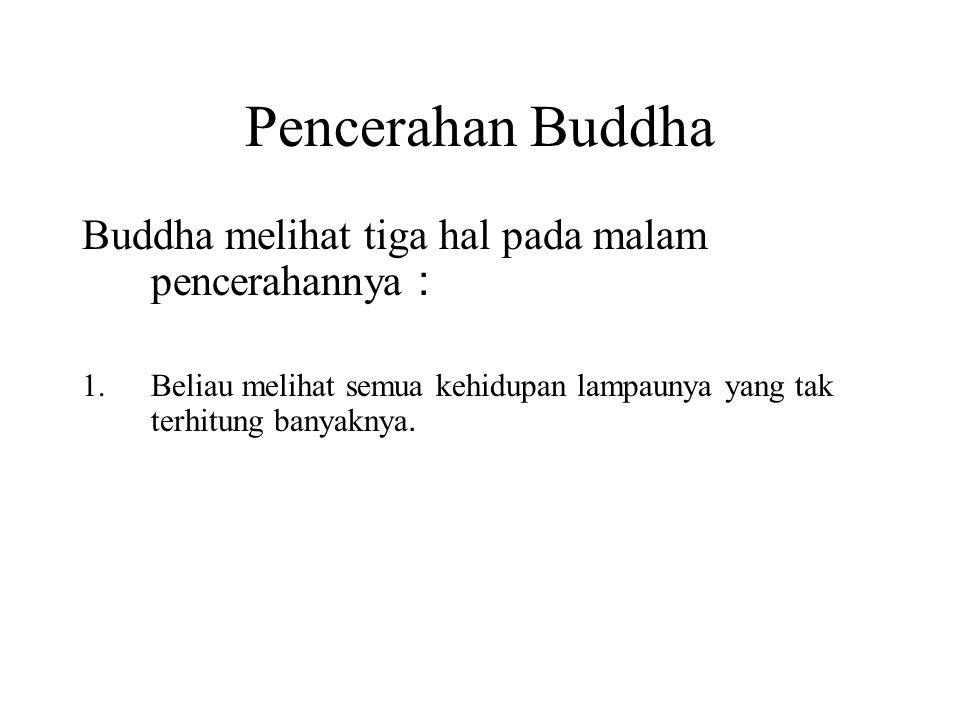 Pencerahan Buddha Buddha melihat tiga hal pada malam pencerahannya : 1.Beliau melihat semua kehidupan lampaunya yang tak terhitung banyaknya. 2.He saw