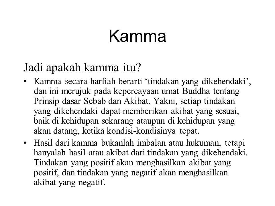Pengelompokkan kamma Menurut fungsinya i.Kamma penghasil ii.Supportive Kamma iii.Obstructive Kamma iv.Destructive Kamma