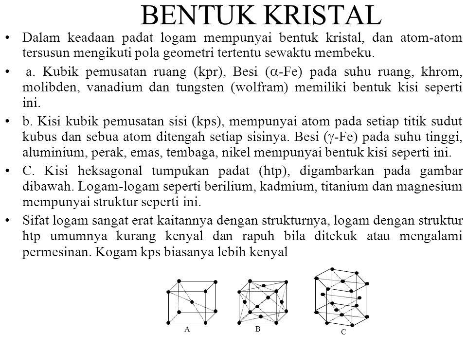 BENTUK KRISTAL •Dalam keadaan padat logam mempunyai bentuk kristal, dan atom-atom tersusun mengikuti pola geometri tertentu sewaktu membeku.