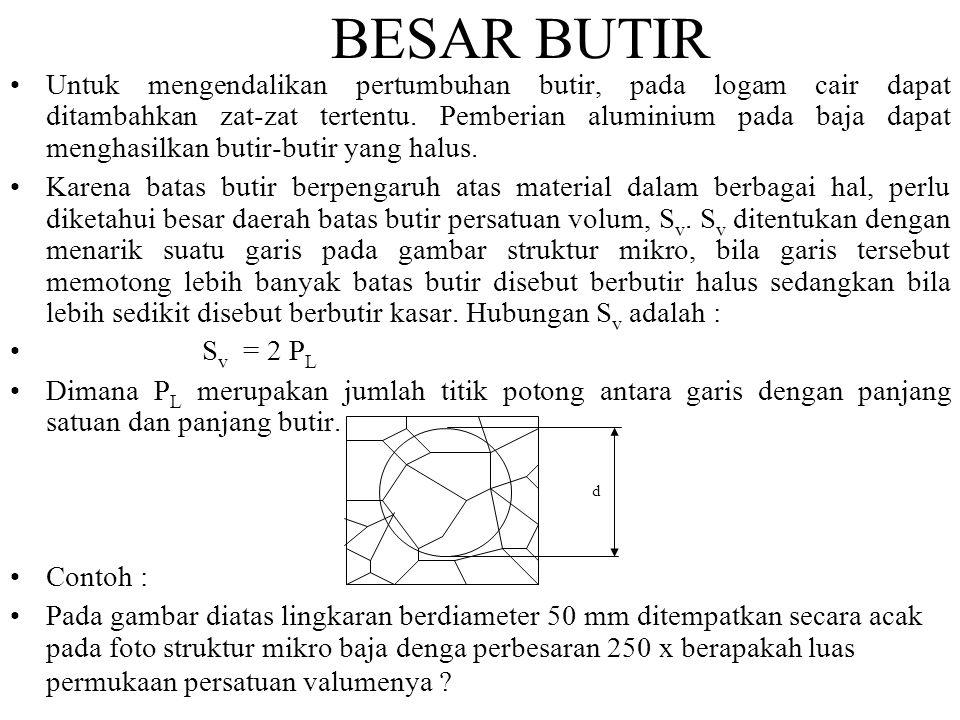 BESAR BUTIR •Untuk mengendalikan pertumbuhan butir, pada logam cair dapat ditambahkan zat-zat tertentu.