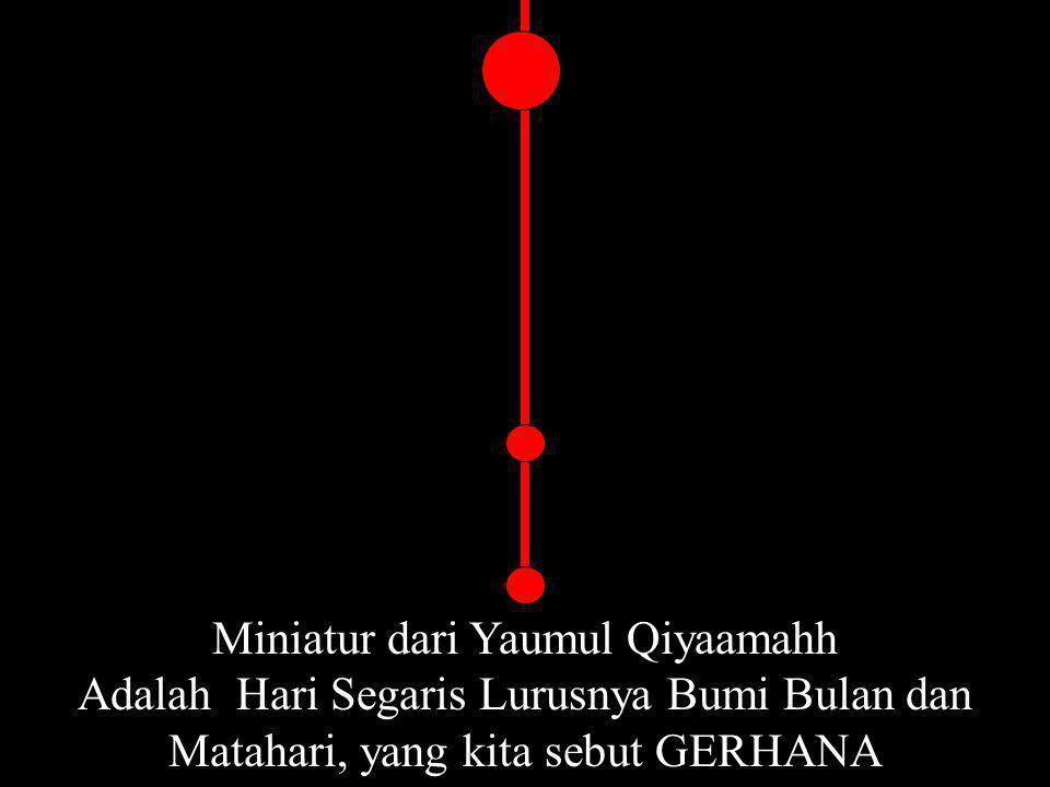 Miniatur dari Yaumul Qiyaamahh Adalah Hari Segaris Lurusnya Bumi Bulan dan Matahari, yang kita sebut GERHANA
