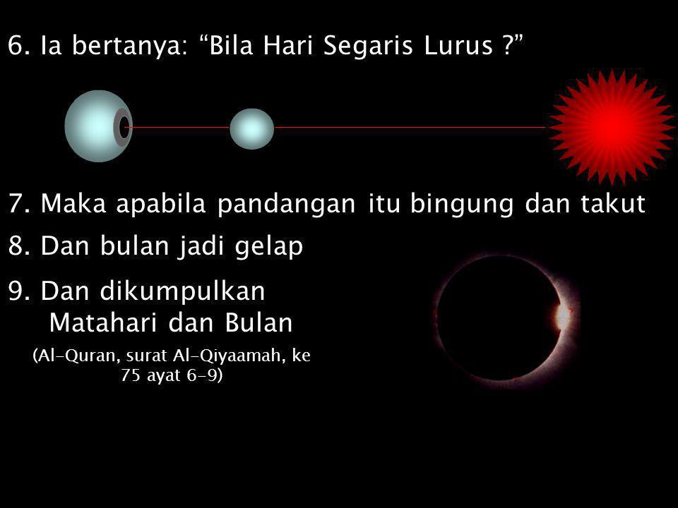 """6. Ia bertanya: """"Bila Hari Segaris Lurus ?"""" 7. Maka apabila pandangan itu bingung dan takut 8. Dan bulan jadi gelap 9. Dan dikumpulkan Matahari dan Bu"""