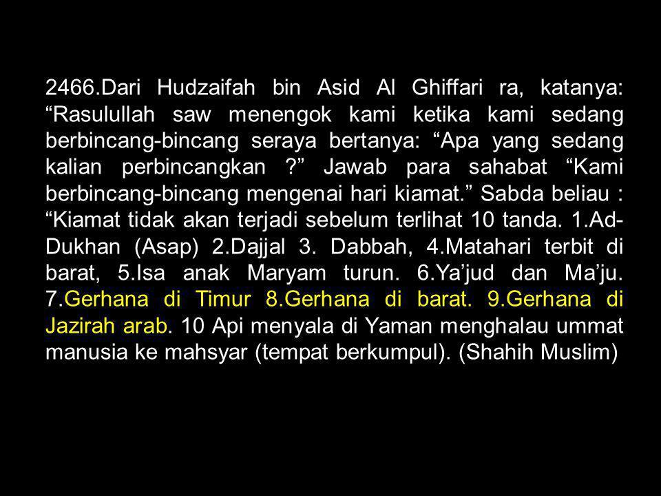 """2466.Dari Hudzaifah bin Asid Al Ghiffari ra, katanya: """"Rasulullah saw menengok kami ketika kami sedang berbincang-bincang seraya bertanya: """"Apa yang s"""