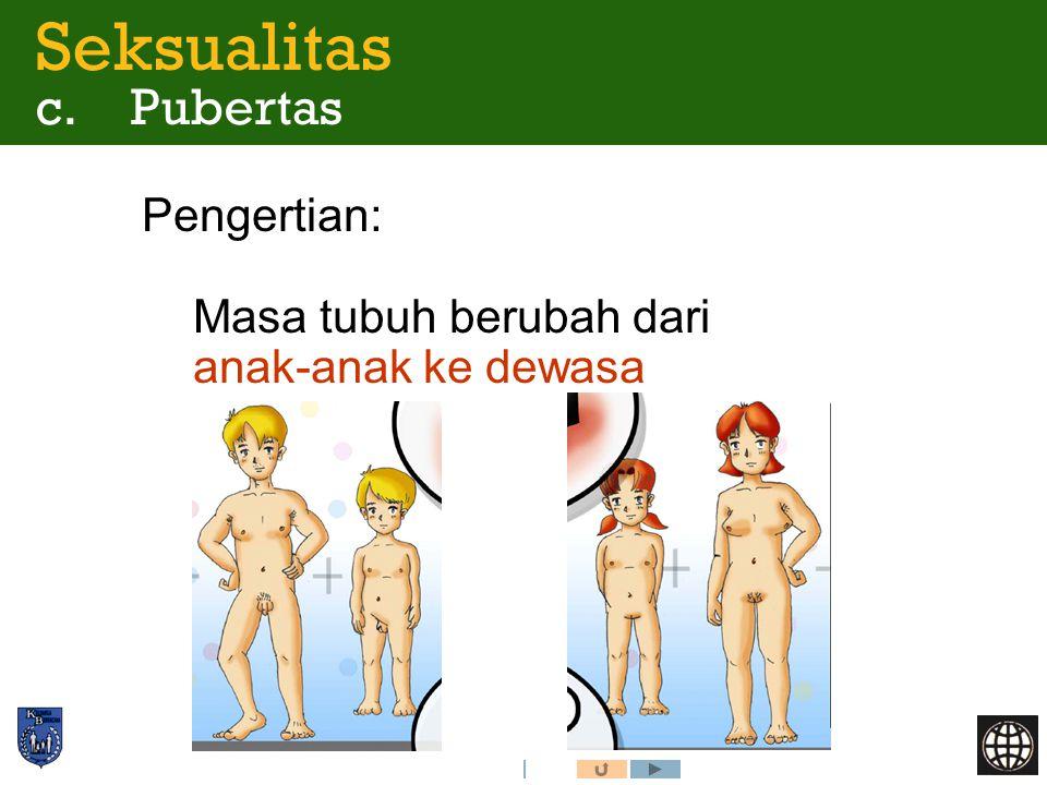 Pengertian: Masa tubuh berubah dari anak-anak ke dewasa Seksualitas c. Pubertas
