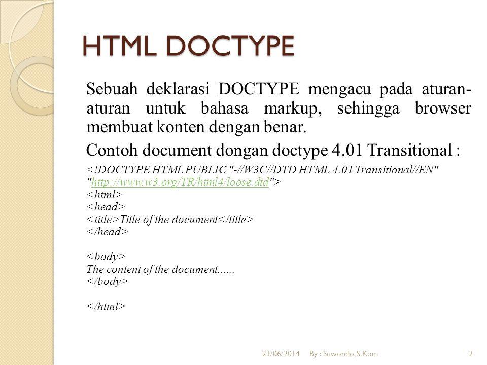 HTML DOCTYPE Sebuah deklarasi DOCTYPE mengacu pada aturan- aturan untuk bahasa markup, sehingga browser membuat konten dengan benar.