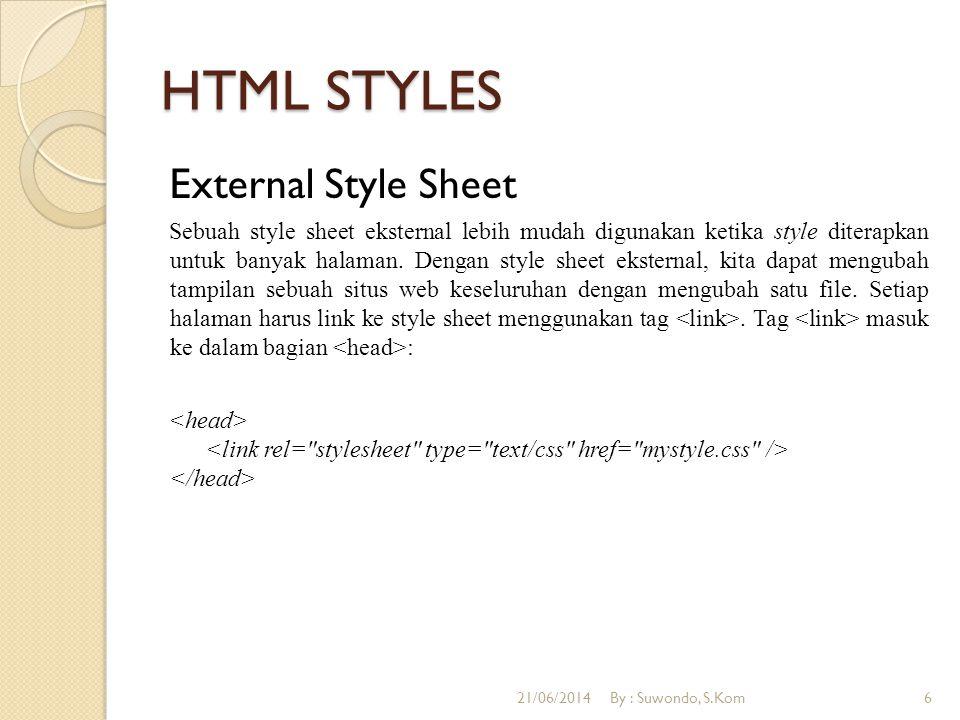 HTML STYLES External Style Sheet Sebuah style sheet eksternal lebih mudah digunakan ketika style diterapkan untuk banyak halaman.