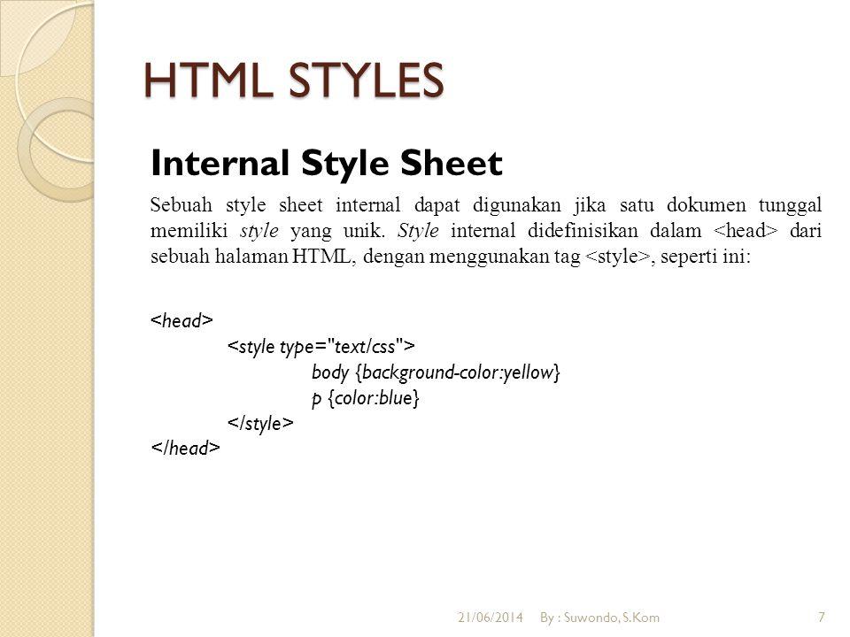 HTML STYLES Internal Style Sheet Sebuah style sheet internal dapat digunakan jika satu dokumen tunggal memiliki style yang unik.