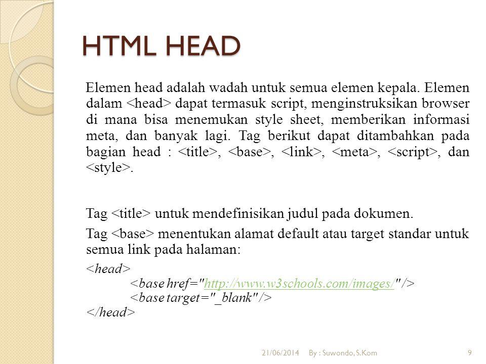 HTML HEAD Elemen head adalah wadah untuk semua elemen kepala.