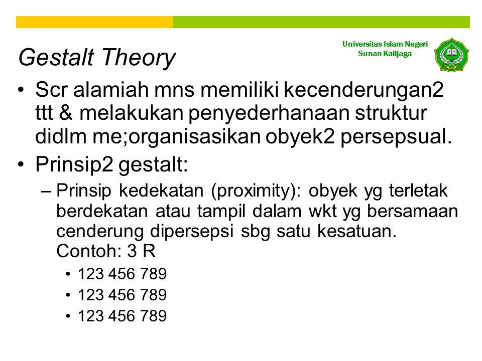 Universitas Islam Negeri Sunan Kalijaga Gestalt Theory •Scr alamiah mns memiliki kecenderungan2 ttt & melakukan penyederhanaan struktur didlm me;organ