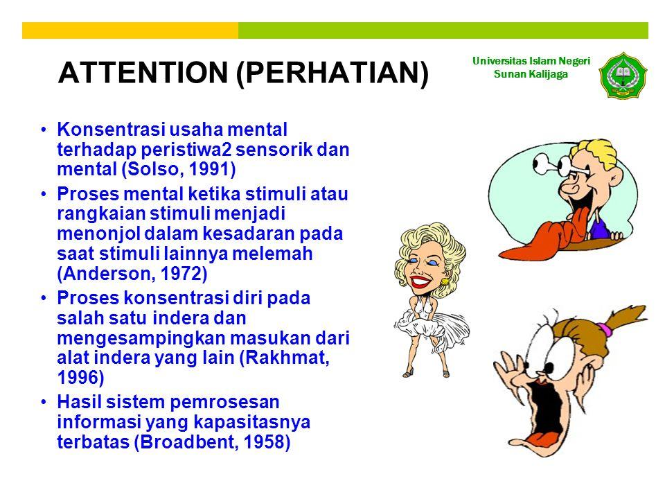 Universitas Islam Negeri Sunan Kalijaga •Konsentrasi usaha mental terhadap peristiwa2 sensorik dan mental (Solso, 1991) •Proses mental ketika stimuli