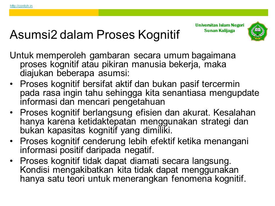 Universitas Islam Negeri Sunan Kalijaga Asumsi2 dalam Proses Kognitif Untuk memperoleh gambaran secara umum bagaimana proses kognitif atau pikiran man