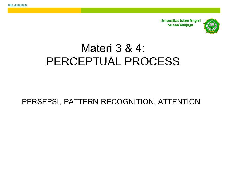 Universitas Islam Negeri Sunan Kalijaga Materi 3 & 4: PERCEPTUAL PROCESS PERSEPSI, PATTERN RECOGNITION, ATTENTION http://contoh.in