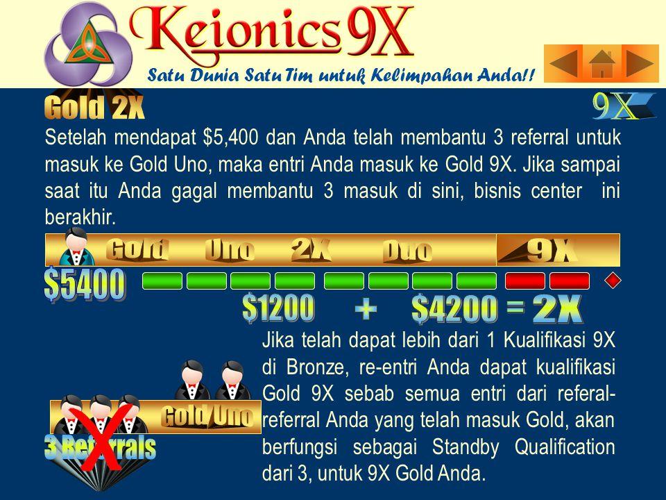Setelah mendapat $5,400 dan Anda telah membantu 3 referral untuk masuk ke Gold Uno, maka entri Anda masuk ke Gold 9X.
