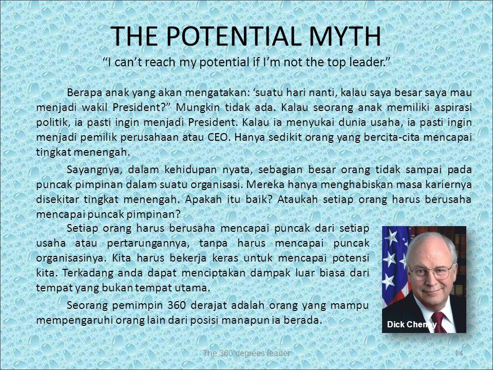 THE POTENTIAL MYTH I can't reach my potential if I'm not the top leader. Setiap orang harus berusaha mencapai puncak dari setiap usaha atau pertarungannya, tanpa harus mencapai puncak organisasinya.