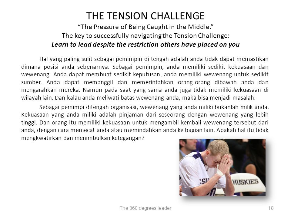 "18 THE TENSION CHALLENGE ""The Pressure of Being Caught in the Middle."" The key to successfully navigating the Tension Challenge: Learn to lead despite"