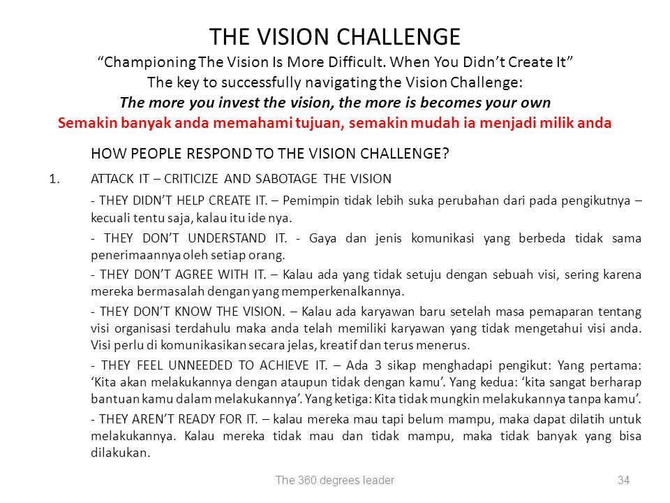 The 360 degrees leader34 THE VISION CHALLENGE Championing The Vision Is More Difficult.