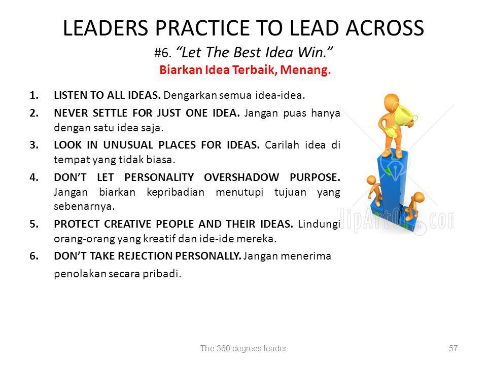 1.LISTEN TO ALL IDEAS.Dengarkan semua idea-idea. 2.NEVER SETTLE FOR JUST ONE IDEA.
