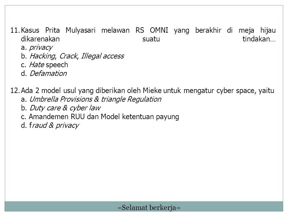 11.Kasus Prita Mulyasari melawan RS OMNI yang berakhir di meja hijau dikarenakan suatu tindakan… a.