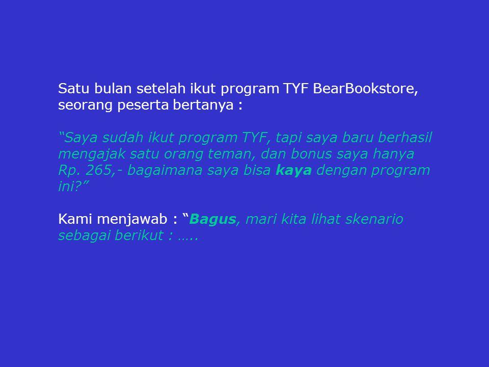 Satu bulan setelah ikut program TYF BearBookstore, seorang peserta bertanya : Saya sudah ikut program TYF, tapi saya baru berhasil mengajak satu orang teman, dan bonus saya hanya Rp.