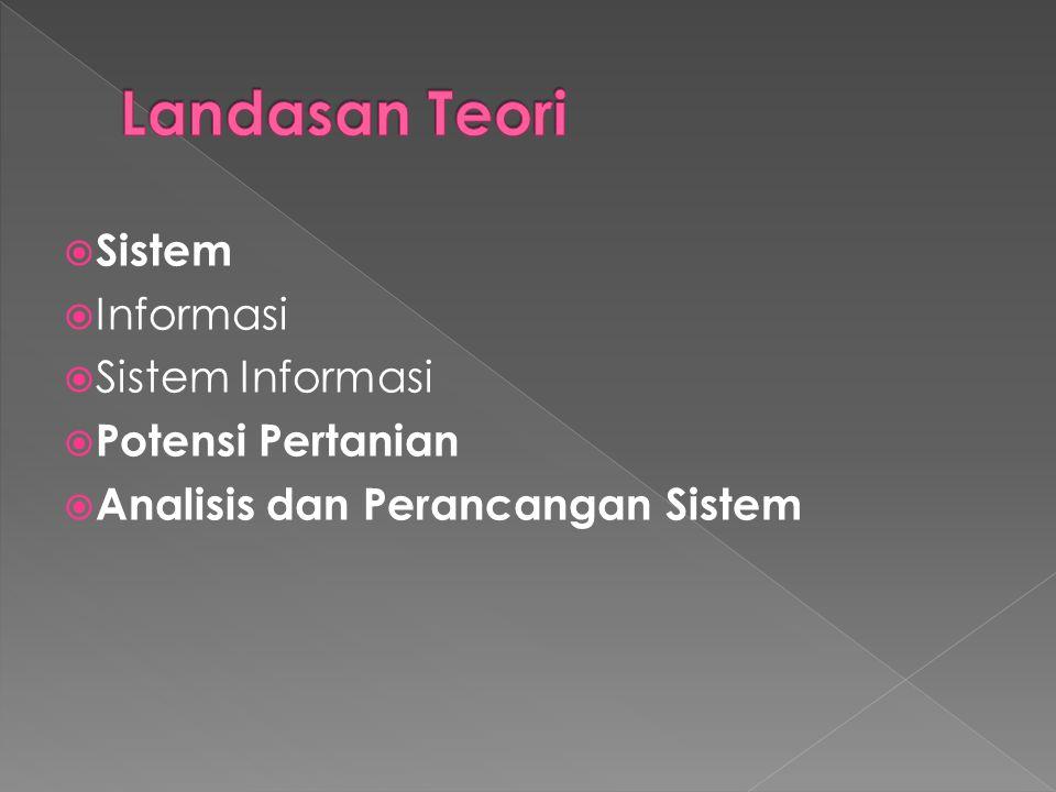  Sistem  Informasi  Sistem Informasi  Potensi Pertanian  Analisis dan Perancangan Sistem