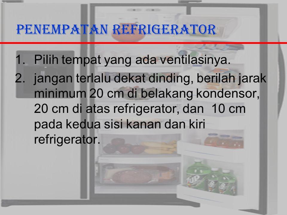 29/10/2006Ricky G & Ega T. Berman2 Penempatan Refrigerator 1.Pilih tempat yang ada ventilasinya. 2.jangan terlalu dekat dinding, berilah jarak minimum