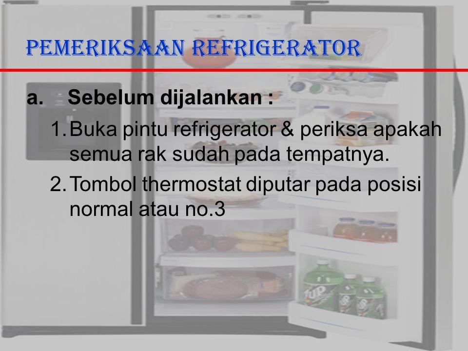 29/10/2006Ricky G & Ega T. Berman4 Pemeriksaan Refrigerator a. Sebelum dijalankan : 1.Buka pintu refrigerator & periksa apakah semua rak sudah pada te