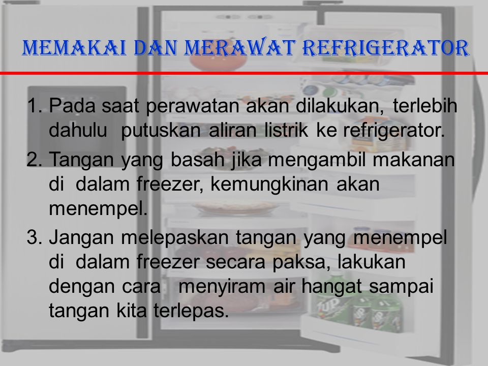 29/10/2006Ricky G & Ega T. Berman8 Memakai dan Merawat Refrigerator 1.Pada saat perawatan akan dilakukan, terlebih dahulu putuskan aliran listrik ke r