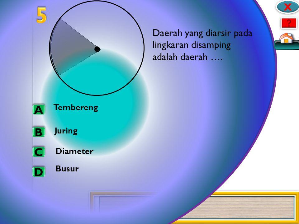 25 A A X X B B C C D D D C B E F A Pada lingkaran diatas, yang merupakan diameter adalah … AE dan BO AE dan CF BO dan DO CF dan DO