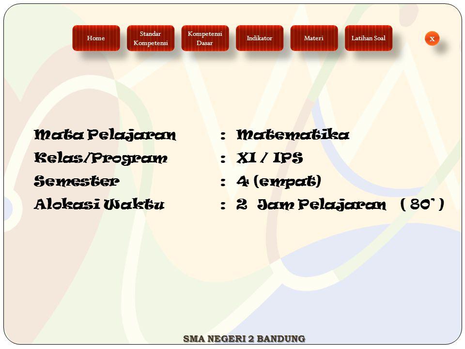 Mata Pelajaran: Matematika Kelas/Program: XI / IPS Semester: 4 (empat) Alokasi Waktu: 2 Jam Pelajaran ( 80' ) Standar Kompetensi Standar Kompetensi Ho