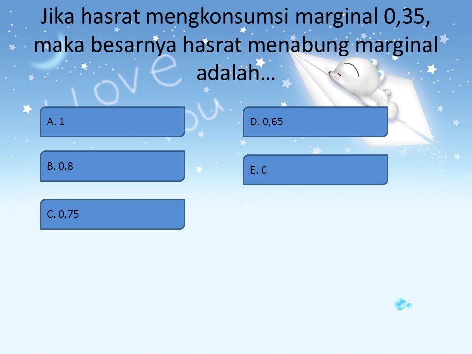 Apabila fungsi konsumsi ditunjukan oleh C = 200 + 0.2Y, maka fungsi tabungan adalah… A. S = - 200 + 0,8Y B. S = 200 + 0,8Y C. S = - 200 + 0,2Y D. S =