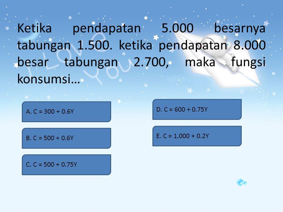 Jika hasrat mengkonsumsi marginal 0,35, maka besarnya hasrat menabung marginal adalah… A. 1 B. 0,8 C. 0,75 D. 0,65 E. 0