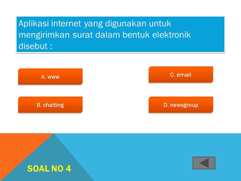 SOAL NO 3 A.WifiWifi A.WifiWifi B. Modem c. Hotspot c. Hotspot d. ISP d. ISP Peralatan akses internet yang berfungsi mengubah sinyal digital menjadi a