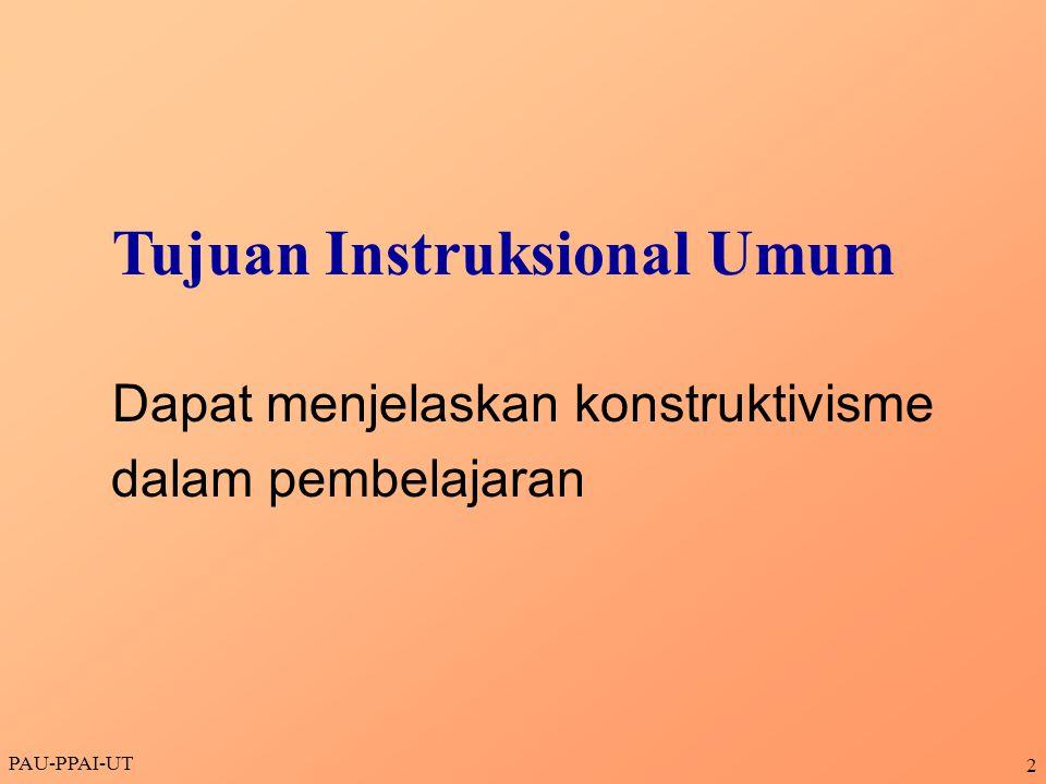 PAU-PPAI-UT 13 RASIONALISME EMPIRISME RELATIVISME NATIVISME Hubungan KONSTRUKTIVISME dengan ALIRAN FILSAFAT LAIN PRAGMATISME IDEALISME OBJEKTIVISME Sejalan Kurang sejalan