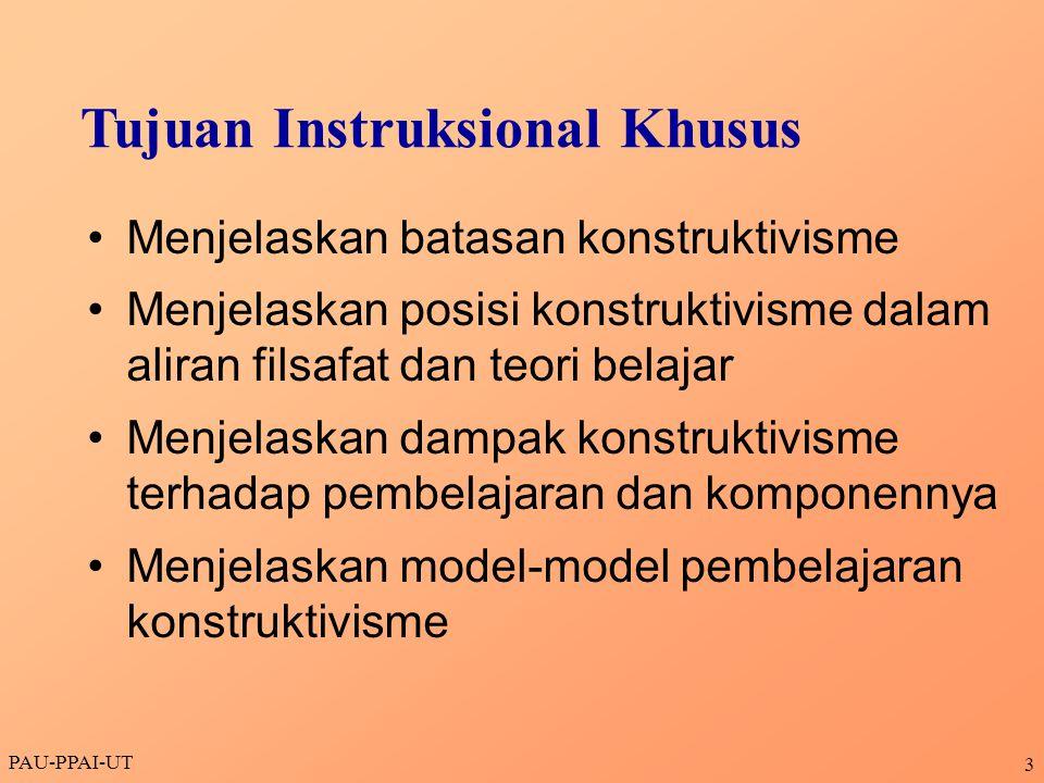 PAU-PPAI-UT 14  Belajar berarti membentuk makna  konstruksi arti merupakan proses yang terus- menerus.