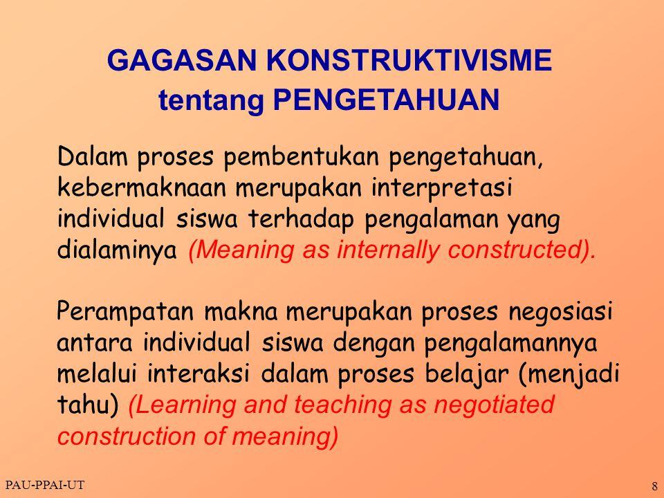 PAU-PPAI-UT 8 Dalam proses pembentukan pengetahuan, kebermaknaan merupakan interpretasi individual siswa terhadap pengalaman yang dialaminya (Meaning