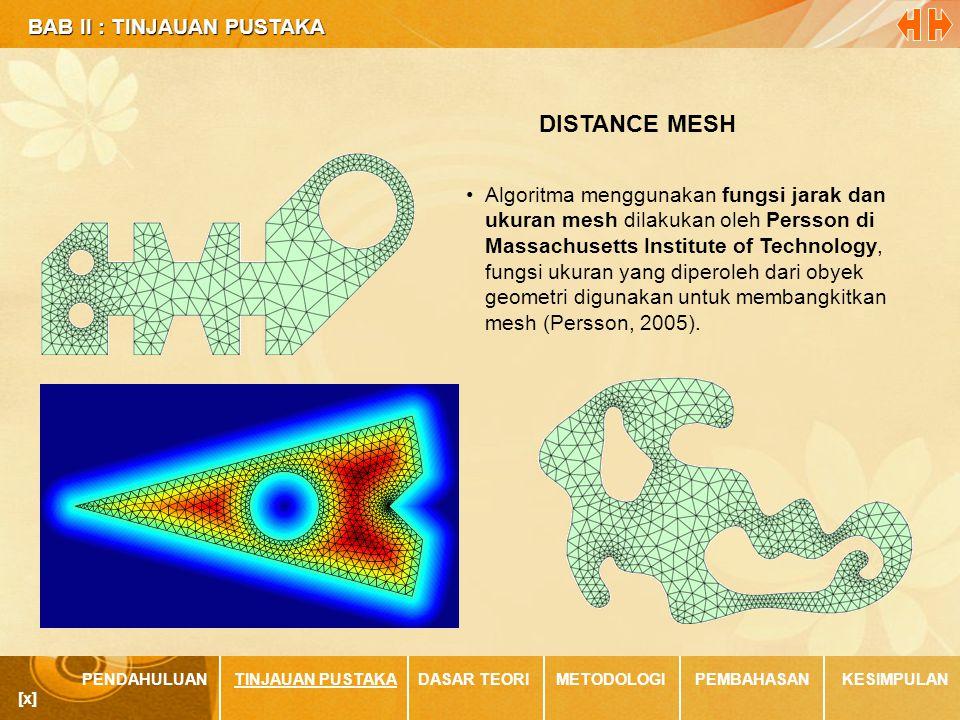BAB II : TINJAUAN PUSTAKA BAB II : TINJAUAN PUSTAKA PENDAHULUANTINJAUAN PUSTAKADASAR TEORIMETODOLOGIPEMBAHASANKESIMPULAN [x] •Algoritma menggunakan fungsi jarak dan ukuran mesh dilakukan oleh Persson di Massachusetts Institute of Technology, fungsi ukuran yang diperoleh dari obyek geometri digunakan untuk membangkitkan mesh (Persson, 2005).