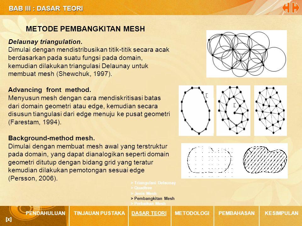BAB III : DASAR TEORI BAB III : DASAR TEORI PENDAHULUANTINJAUAN PUSTAKADASAR TEORIMETODOLOGIPEMBAHASANKESIMPULAN [x] METODE PEMBANGKITAN MESH > Jenis Mesh > Quadtree > Triangulasi Delaunay > Perbaikan Mesh > Pembangkitan Mesh Delaunay triangulation.