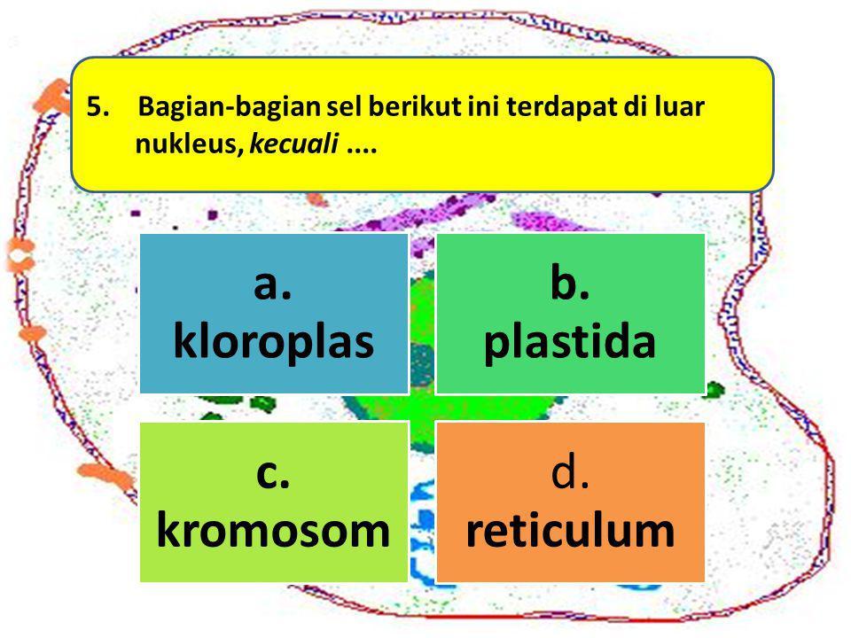 5. Bagian-bagian sel berikut ini terdapat di luar nukleus, kecuali.... a. kloroplas b. plastida c. kromosom d. reticulum