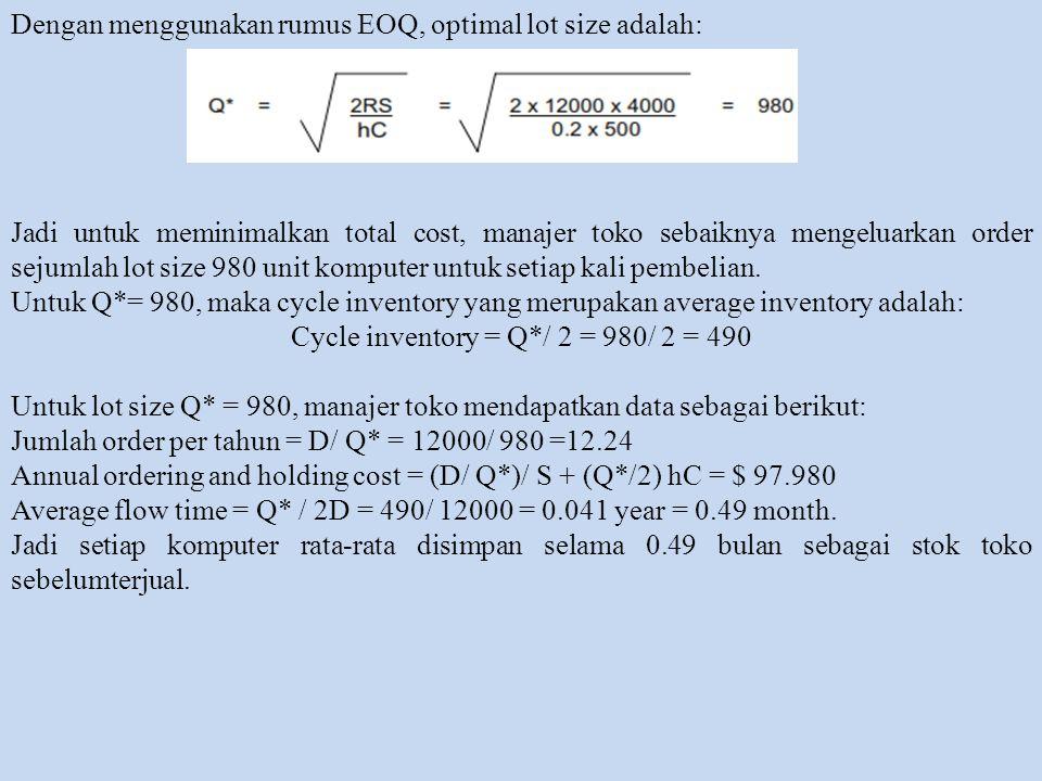 Dengan menggunakan rumus EOQ, optimal lot size adalah: Jadi untuk meminimalkan total cost, manajer toko sebaiknya mengeluarkan order sejumlah lot size