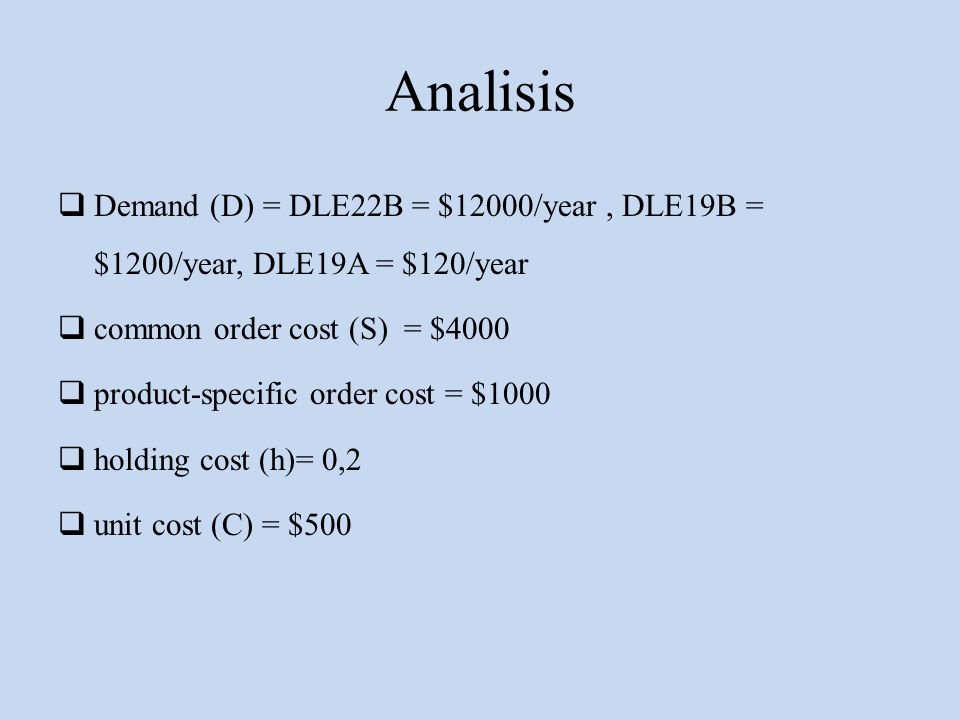 Analisis  Demand (D) = DLE22B = $12000/year, DLE19B = $1200/year, DLE19A = $120/year  common order cost (S) = $4000  product-specific order cost =