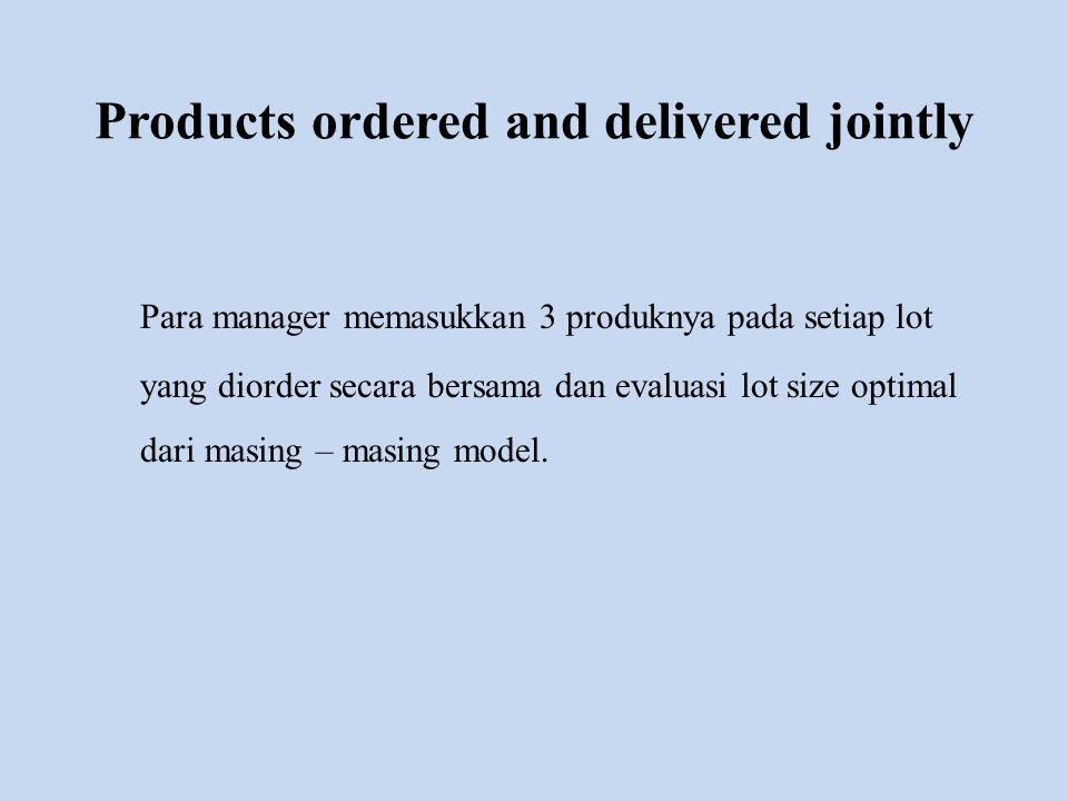 Products ordered and delivered jointly Para manager memasukkan 3 produknya pada setiap lot yang diorder secara bersama dan evaluasi lot size optimal d