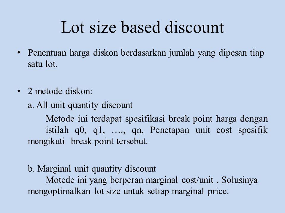 Lot size based discount • Penentuan harga diskon berdasarkan jumlah yang dipesan tiap satu lot. • 2 metode diskon: a. All unit quantity discount Metod